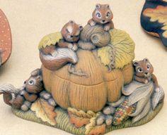 Ceramic Bisque Ready to Paint Squirrels and Pumpkin Box  #CeramicBoutique
