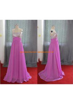 Strapless Chiffon Prom Dress Beads Bodice Long Bridesmaids Dress Chiffon Evening Dress Simple Homecoming Dress