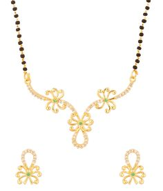 Voylla Mangalsutra With Floral Designs Laced With Green CZ Stones, http://www.snapdeal.com/product/voylla-mangalsutra-with-floral-designs/1071317105