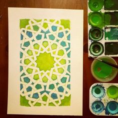 This is definitely filtered. brings out the colours in a way that I didn't paint 'em. Islamic Art Pattern, Arabic Pattern, Geometry Pattern, Geometry Art, Pattern Art, Geometric Designs, Geometric Shapes, Geometric Drawing, Motifs Islamiques