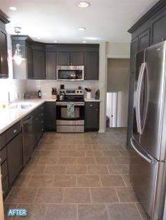 Dark wood, white counter tops, white subway tile, grey floors, Corian counter tops. Maybe do the top cabinets n white to brighten it up?