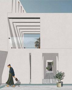 Arch Architecture, Architecture Visualization, Architecture Drawings, Architecture Portfolio, Space Illustration, People Illustration, Minimalist Drawing, Swinging Chair, Homework
