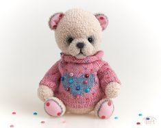 Cute amigurumi teddy bear toy Dory, crochet stuffed plush bear animal with clothes Crochet Teddy, Crochet Bunny, Teddy Bear Toys, Teddy Bears, Gnome Hat, Bunny And Bear, Toddler Gifts, Plush Animals, Bear Animal