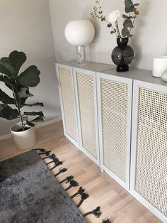 sideboard console made from ikea ivar cabinets and cane panels. trim in white and add gold pull hardware Ikea Furniture Hacks, Entryway Furniture, Entryway Decor, Diy Bedroom Decor, Diy Home Decor, Furniture Design, Entryway Ideas, Furniture Ideas, Diy Casa
