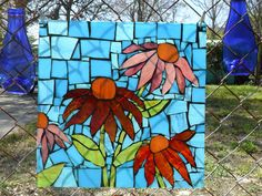 Stained Glass Mosaic Flowers Blue, Red and Pink. 14 x 14 $195.00, via Etsy.