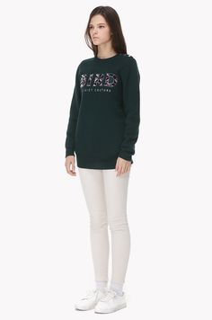 Shoulder button embroidery knit sweater