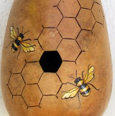 Bee Hive Gourd Birdhouse by GourdArtbyCyndee on Etsy, $50.00