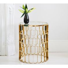 Deco Decadence Side Table | Metal Bedside table #Frenchbedrooms #Gold