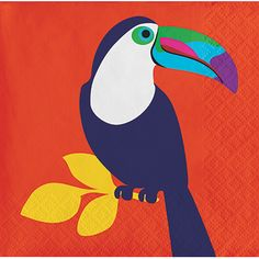 Creative Converting French Bull Tropicana Toucan Tropical Bird 3-Ply Paper Cocktail Beverage Napkins Wholesale 325790