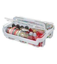 Stackable Caddy Organizer, Plastic Containers With Lids, Plastic Container Storage, Storage Containers, Craft Room Storage, Craft Organization, Storage Ideas, Target Organization, Scrapbook Organization, Craft Rooms