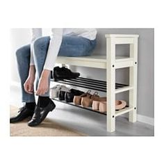 """IKEA - HEMNES Bench with shoe storage Bench with shoe storage. Size: 33 """" Have a seat while putting on your shoes. The simple, classical design with a touch of tradition looks great with other furniture in the HEMNES series. Shoe Storage White, Front Door Shoe Storage, Bench With Shoe Storage, Storage Benches, Ikea Storage, Shoe Rack By Front Door, Shoe Storage Ideas For Small Spaces, Shoe Organizer Entryway, Shoe Storage Solutions"""