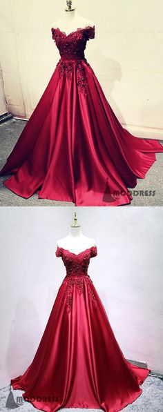 Applique Long Prom Dresses Off the Shoulder Evening Dresses Satin Formal Dresses,HS664 #fashion#promdress#eveningdress#promgowns#cocktaildress