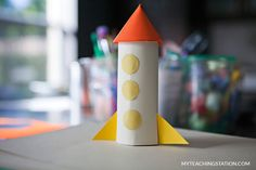Make the windows for the toilet paper roll rocket