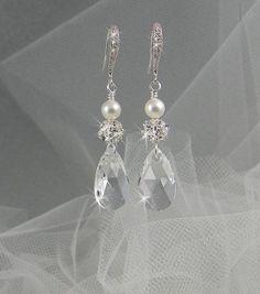pearl and crystal bridal earrings | 30 Crystal Wedding earrings, Dangle Pearl Bridal jewelry Bridesmaids ...