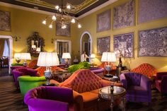 Lounge in The Grand Hotel Tremezzo, Lake Como Italy