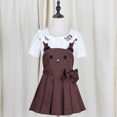 Bear and Bunny Suspender Dress Shorts Ver.1 (brown and pink) HF00579