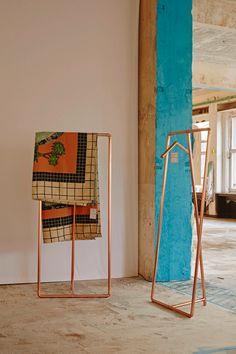 MAD About Living: 25 designers from Brussels - Cologne Passagen.  Clothing Rack in Copper Chloé by Auguste et Claire. Blanket/Textile by Delphine Dénéréaz.