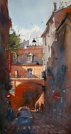 "Streets of Bordeaux"" by Eugen Chisnicean.""Narrow Streets of Bordeaux"" by Eugen Chisnicean. Watercolor Architecture, Watercolor Landscape, Landscape Paintings, Landscapes, Watercolor Artists, Watercolour Painting, Painting & Drawing, Watercolours, Cityscape Drawing"