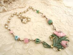 BEGUILE vintage assemblage necklace pink fresh by lilyofthevally, $68.00