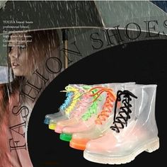 26.91$  Buy now - http://ali0fc.shopchina.info/go.php?t=2005950208 - Hot sale 2016 crystal jelly shoes Women rain boots Martin boots fashion green transparent water shoes Women flats 649 26.91$ #magazine