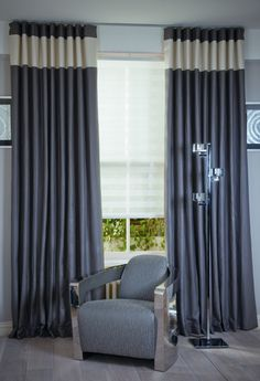 Curtains with contrasting horizontal panel