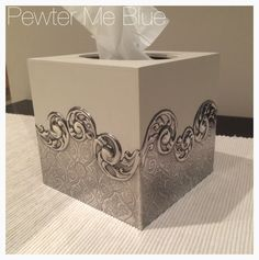 Tissue box by Pewter Me Blue - really beautiful! Tin Foil Art, Aluminum Foil Art, Aluminum Crafts, Tin Art, Metal Crafts, Diy And Crafts, Arts And Crafts, Pewter Art, Pewter Metal