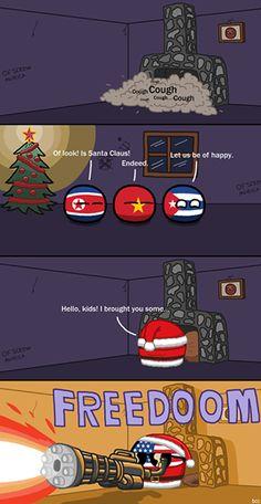 Santa Claus from Murica ( US, North Korea, Vietnam, Cuba ) #polandball #countryball #flagball