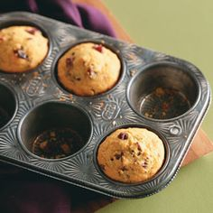 """Lisa Varner, Charleston, South Carolina says """"I found a low-fat recipe for corn muffins and added cranberries and pecans to make a wonderful new holiday dish. They have just the right flavor for this time of year. Zucchini Muffins, Muffins Blueberry, Oat Bran Muffins, Almond Muffins, Corn Muffins, Holiday Desserts, No Bake Desserts, Veggie Recipes, Cooking Recipes"""