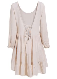 Apricot Long Sleeve Backless Dress 16.00