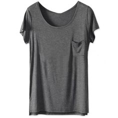 Solid Color Dark Grey Round Neck Short Sleeve Slits T-shirt ($20) ❤ liked on Polyvore featuring tops, t-shirts, shirts, dark grey t shirt, dark grey shirt, t shirts, slit shirt and slit tee
