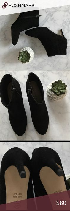 Via Spiga Aurora Round Toe Bootie Size 7.5, black suede, 2.5in heel, never worn (cleaned bottom from price sticker) zip side, without tags Via Spiga Shoes Heeled Boots