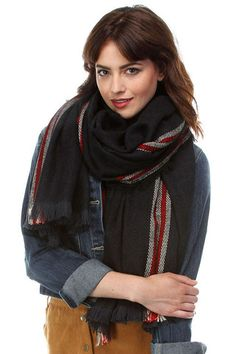 Women's Stripe Edge Frayed Oversized Blanket Scarf in Navy Fall Scarves, Blanket Scarf, Wholesale Fashion, Boutique Clothing, Womens Scarves, Navy, Clothes For Women, Shopping, Tops