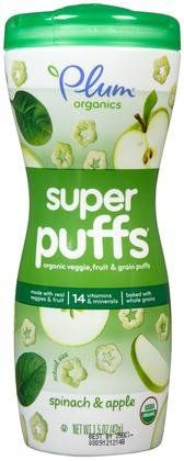Plum Organics Super Puffs - Spinach Apple - 1.5 oz