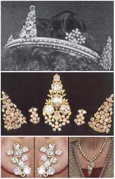 Borneo Diamonds Tiara / Set. Dismounts to become earrings, pendant, brooches. These jewels were a gift from the Sultan of Kutai (Borneo) to Queen Wilhelmina upon her inauguration in 1898.