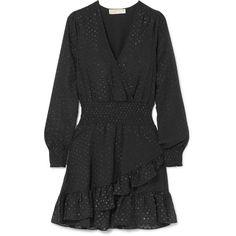 MICHAEL Michael Kors Wrap-effect ruffled fil coupé georgette mini... ($320) ❤ liked on Polyvore featuring dresses, black, short mini dress, ruffle hem dress, polka dot wrap dress, mini wrap dress and mini dress