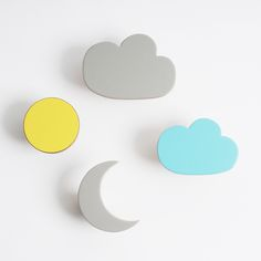 Wooden wall hooks cloud, Sun and Moon designs