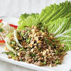 Asian Turkey Cabbage Cups Recipe from Cooking Light.  Love this easy fresh dish; great for next day's lunch too (If there are any leftovers)!