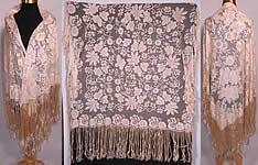 Antique Blonde Silk Net Floral Embroidery Lace Fringe Mantilla Spanish Shawl