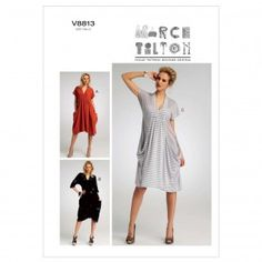 Vogue Ladies Easy Sewing Pattern 8813 Drape Dress with Pockets | Sewing | Patterns | Minerva Crafts