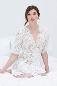 Elizabeth Lace Bridal Wedding Getting Ready Robe in Off-white Lace Bridal, Bridal Robes, Scalloped Lace, French Lace, Silhouette, Wedding Styles, Wedding Ideas, Girl Model, Cotton Lace