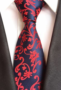 High Quality Paisley Floral Navy Blue Red Mens Silk Tie 100% Jacquard Woven Classic Ties Gravata Corbatas Wedding Neckties #Affiliate