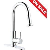 BOHARERS Kitchen Sink Faucets with Sprayer Stainless Steel Single Handle Spot Resist, Polished Chrome