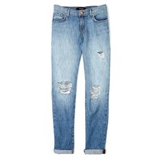 J Brand Denim Lakespur Destruct Aiden Mid-rise Boyfriend Jeans ($149) ❤ liked on Polyvore featuring jeans, pants, bottoms, denim, distressed jeans, blue ripped jeans, destroyed jeans, destroyed boyfriend jeans and mid-rise jeans