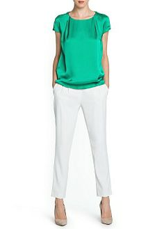 Baggy trousers with decorative pleats at front. Mango Trousers, Mango Clothing, Couture Tops, Manga, Short Sleeve Blouse, Blouses For Women, Ideias Fashion, Skinny, Womens Fashion