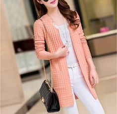 Cheapest Sweaters Fashion Long Sleeve In Long Knitting Cardigan Pink Cheap Sweaters, Sweater Fashion, Knit Cardigan, Knitting, Coat, Long Sleeve, Sleeves, Pink, Tricot