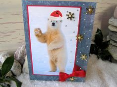 Polar Bear Greeting Card 8 x 6 Blue Red Santa Hat by 4SeasonCards, €5.50