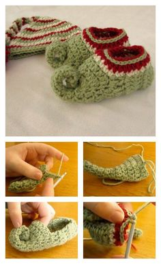 Crochet Baby Shoes Crochet Elf Slippers Video Tutorial - Elf slippers are for both festive and practical. You can easily crochet these fun slippers with Elf Slippers Free Crochet Patterns Crochet Slipper Pattern, Crochet Slippers, Christmas Crochet Patterns, Holiday Crochet, Cute Crochet, Crochet For Kids, Crochet Gifts, Elf Slippers, Kids Slippers