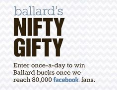 I just entered the Ballard Designs Nifty Gifty Giveaway for an exclusive discount & a chance to win up to $2,500 in super cute home décor!