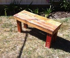 How to make a simple, attractive and (deliberately) rustic bench seat for your back yard. The aim here is not to disguise where the timber came from - pick a pallet with a strong colour scheme and make it shine and have some fun with this easy project.