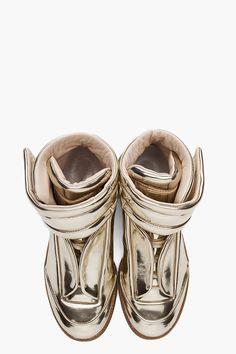 MAISON MARTIN MARGIELA Hi Top Sneaker in Gold